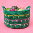 Spiky Stripey Crochet Basket free crochet basket