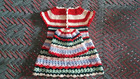Rainbow dress (baby frock) Free Crochet Pattern