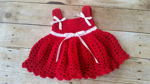 Red Lace Baby Dress Free Crochet Pattern