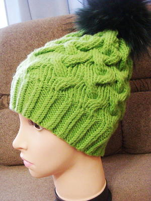 Electric Green Cable Hat free knitted hat pattern