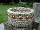 Beaded Jute Basket free crochet pattern