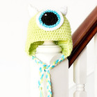 Green One-Eyed Monster Baby Hat