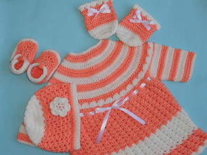 Baby Dress with Hat, Booties and Mittens free crochet pattern