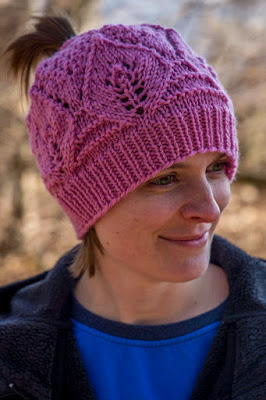 Pretty in Pink Ponytail Hat free knitted pattern