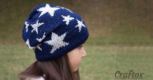 Slouchy Star Knit Beanie free knitted hat Pattern