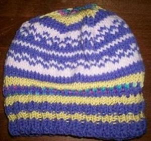 Simple Colorwork Beanie free knitted hat pattern
