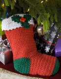 Crochet Holly Stocking pattern