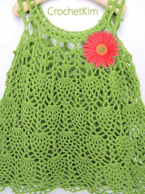 Pineapple Cascade Baby Dress free crochet pattern