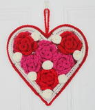 Crochet Valentine's Rose Heart Wreath