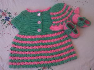Striped Baby Dress free crochet pattern