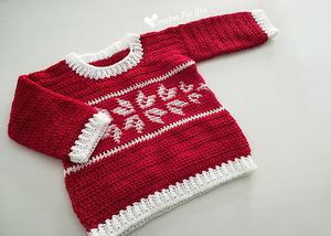 Winter Snowflake Baby Sweater Free Crochet Pattern