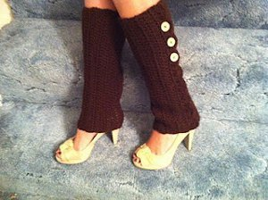 Brown Buttoned Leg Warmers