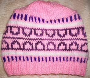 Pink and Purple Colorwork Hat free knitted hat pattern
